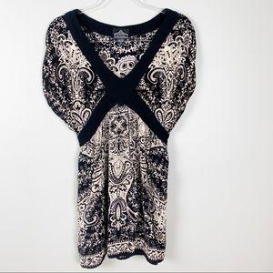 Angie Shirt Blouse Tunic XL Tieback Cap Sleeves